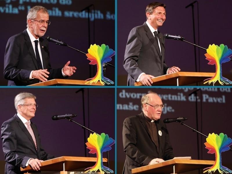 Slika 3: Slavnostni govorniki dr. Alexander Van der Bellen, Borut Pahor, dr. Peter Kaiser in dr. Alois Schwarz, © Peter Krivograd