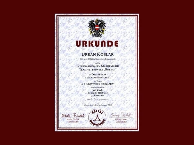 Slika 3: Diploma za uspešnega učenca, © Niko Ottowitz