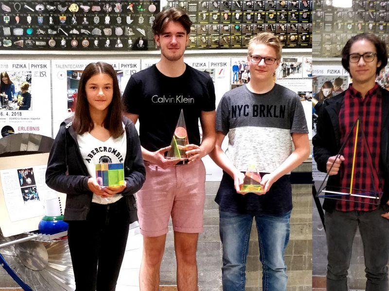 Slika 1: Koroški prvaki Alisha Sitter, Lin Livrin (podprvak), Benjamin Fende in Luka Miličić Eržen (z leve), ©Niko Ottowitz