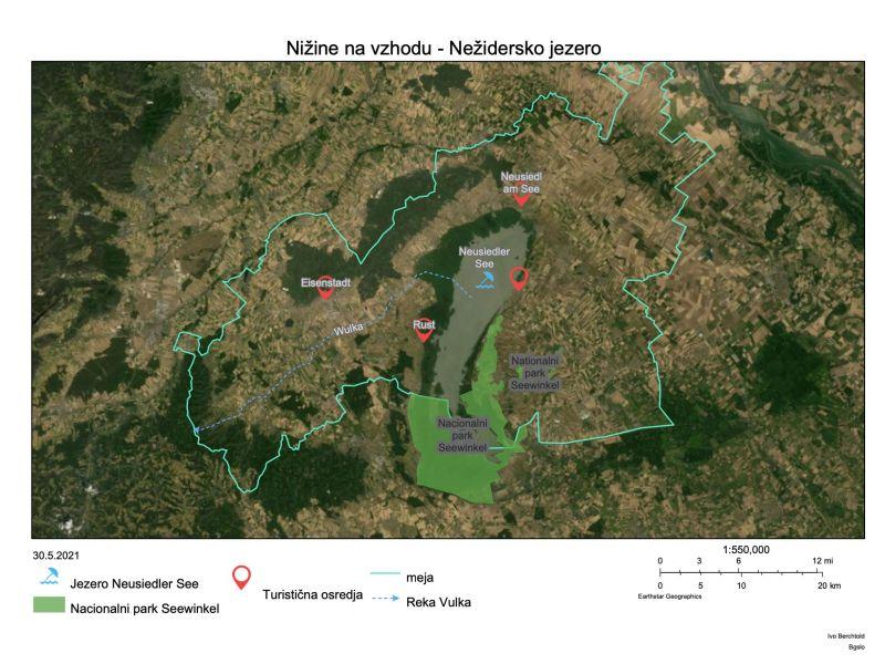 Slika 4: Izdelana kartografija, Ivo Berchtold (7C), Nižine na vzhodu Avstrije - Nežidersko jezero