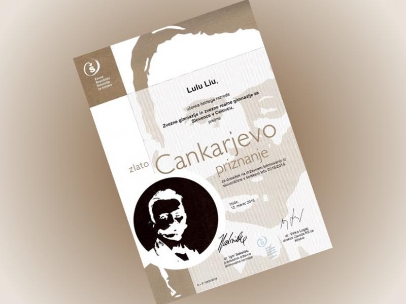 Bild 1: Die höchste Auszeichnung für Lulu Liu aus der 4A Klasse, © Zavod RS za šolstvo